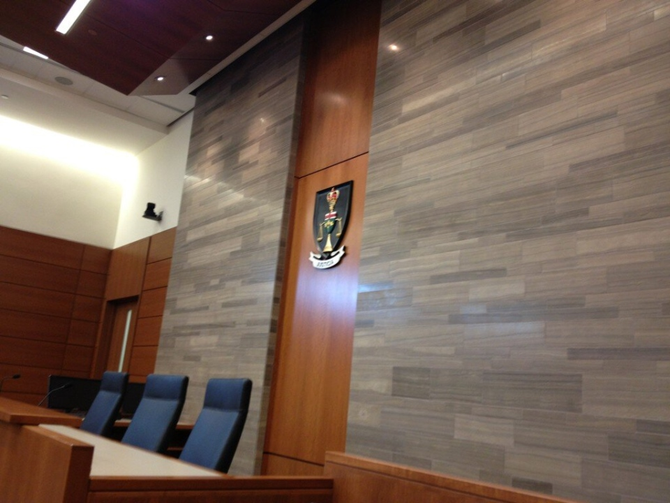 An Ontario Superior Court room is seen inside Kitchener's consolidated courthouse on Friday, Feb. 22, 2013. (Nicole Lampa / CTV Kitchener)