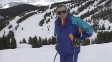 Don McGowan sports his finest fluorescent clothing as he tours Vail, Colorado.