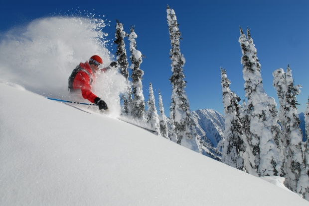 In this handout file photo, a skier attacks the backcountry at Revelstoke Mountain Resort.