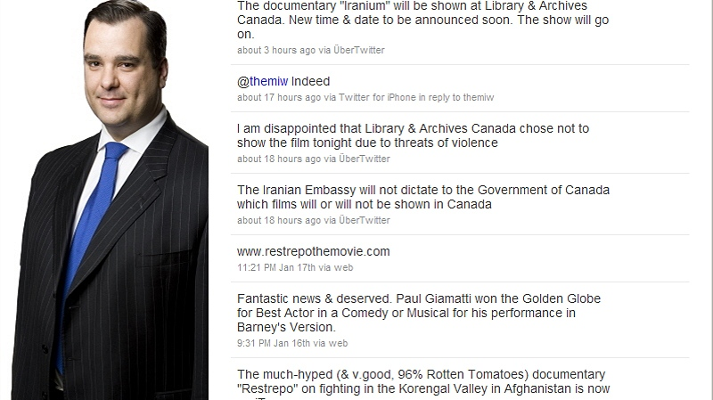 An image taken from Heritage Minister James Moore's Twitter page shows his comments on screening of the film 'Iranium', Wednesday, Jan. 19, 2011.