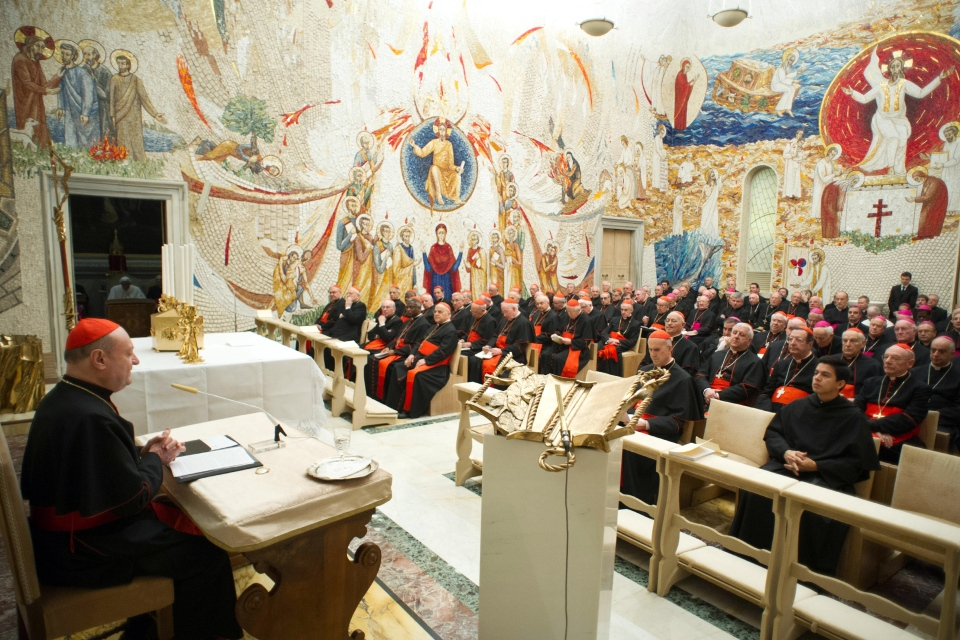 Cardinal Gianfranco Ravasi delivers his message concluding a week-long spiritual retreat at the Vatican, Saturday, Feb. 23, 2013. (L'Osservatore Romano)