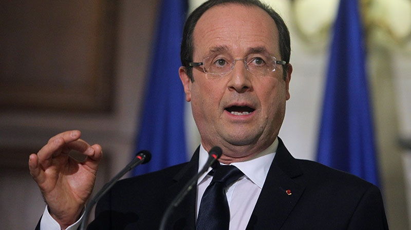 French President Francois Hollande gestures speaks during a news conference at Maximos mansion in Athens, Tuesday, Feb. 19, 2013. (AP / Thanassis Stavrakis)