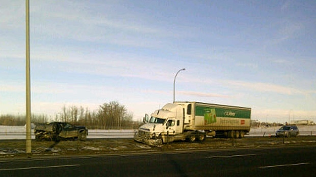 Police say the collision happened between a semi and pick-up on the Anthony Henday Drive.