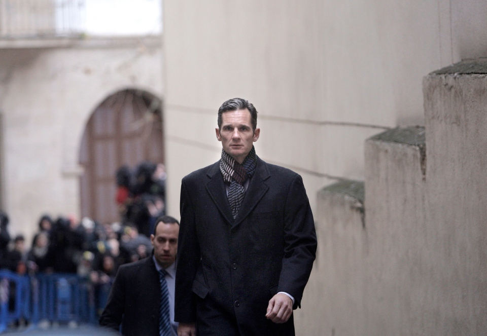 Inaki Urdangarin, the Duke of Palma, enters a courthouse in Palma de Mallorca, Spain, Saturday Feb. 23, 2013. (AP / Manu Mielniezuk)