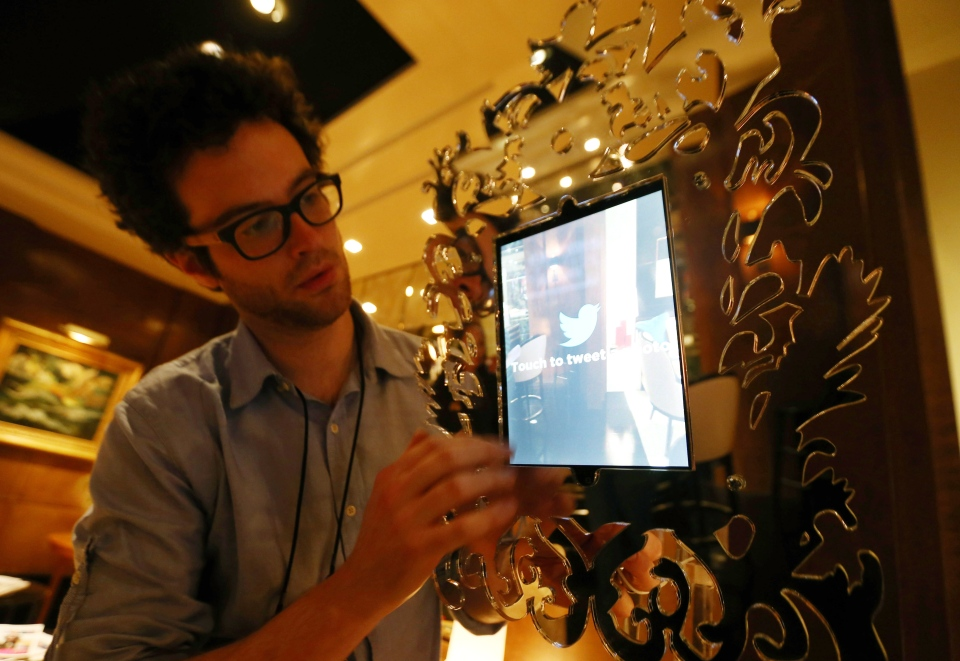 The Twitter Mirror that is going to be used during the Oscars is set up backstage at the 85th Academy Awards in Los Angeles, in this photo taken Friday, Feb. 22, 2013. (AP / Matt Sayles)