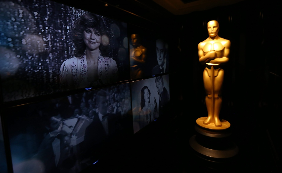 An Oscar statue is seen in front of the Oscar Green Room for the 85th Academy Awards in Los Angeles, Thursday, Feb. 21, 2013.  (AP / Matt Sayles)