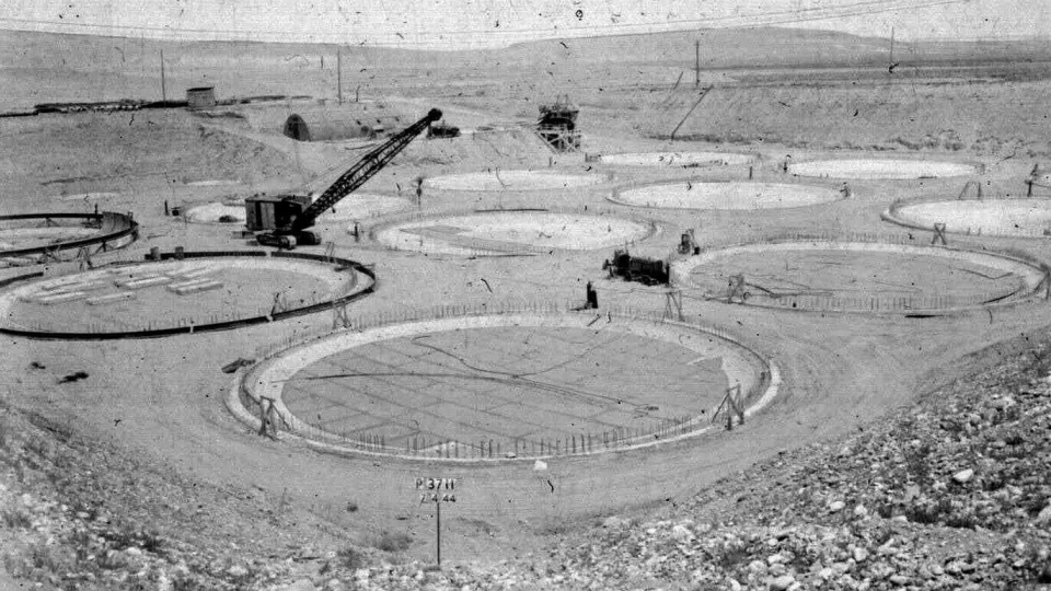 The construction of a 'tank farm' to store nuclear waste is shown on the Hanford nuclear reservation near Richland, Wash., in 1944. (U.S. Department of Energy)