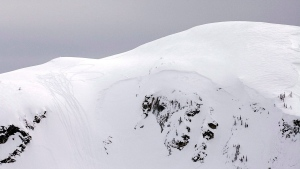 In this file photo, snowmobile tracks, left, are seen marking the highest point they reached next to the markings where a large avalanche occurred near Revelstoke, BC, Sunday, March 14, 2010. (Jeff Bassett / THE CANADIAN PRESS)