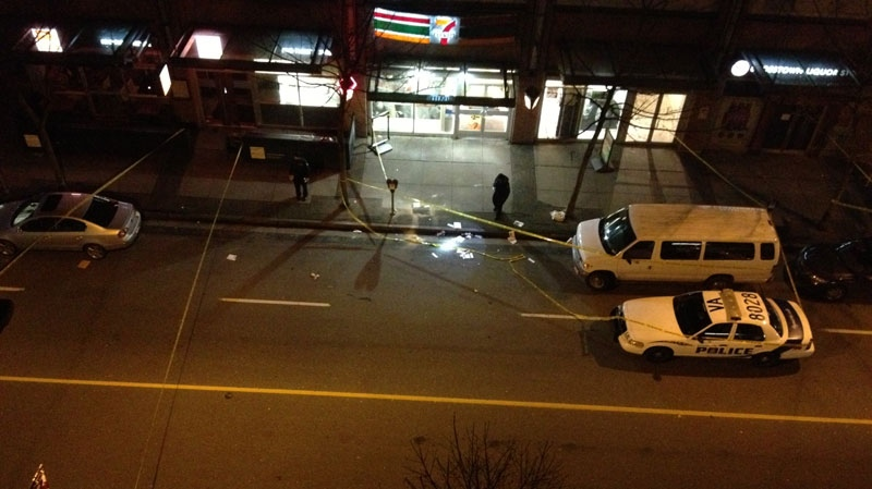 Police investigate the scene of an alleged stabbing Friday, Feb. 22, 2013. (CTV)