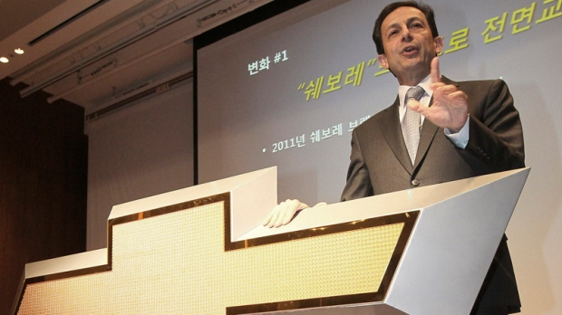 Mike Arcamone, GM Daewoo's president and CEO, speaks during a press conference in Seoul, South Korea, Thursday, Jan. 20, 2011. (Yonhap / Park Ji-ho)