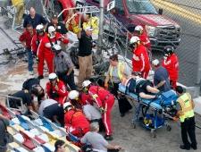 Injured spectators a crash at Daytona Speedway
