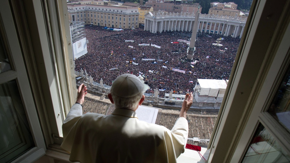 Pope Benedict XVI delivers his blessing during his last Angelus noon prayer, from the window of his studio overlooking St. Peter's Square, at the Vatican, Sunday, Feb. 24, 2013. (L'Osservatore Romano)