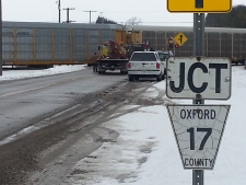 Woodstock train collides with car