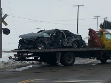 Train collides with car in Woodstock