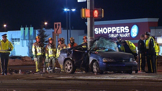 RCMP say one person died and another was taken to hospital after a collision in St. Albert Saturday night.