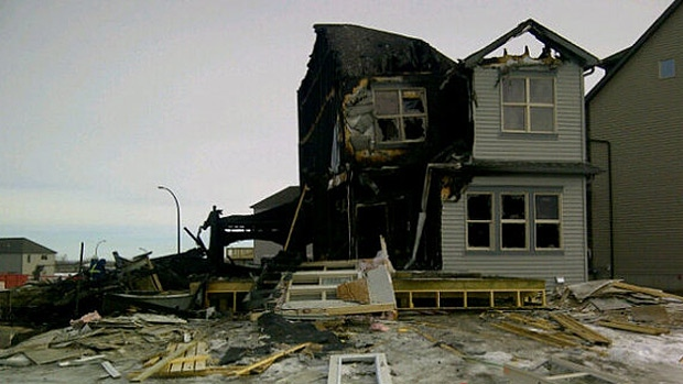 Two sub-contractors were able to escape a blaze after a house exploded in Spruce Grove Saturday night.