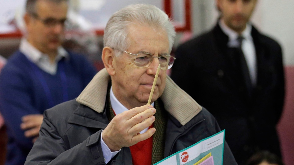 Outgoing Premier Mario Monti holds ballots prior to voting, in Milan, Italy, Sunday, Feb. 24, 2013. (AP / Luca Bruno)