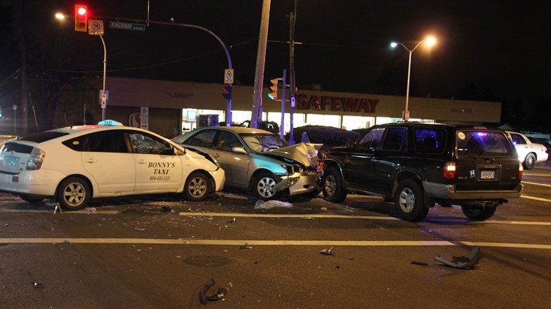 Three vehicles collided at the intersection of Kingsway and Royal Oak Avenue Saturday, Feb. 23, 2013. (CTV)