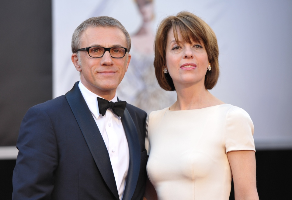 Actor Christoph Waltz, left, and wife Judith Holste arrives at the 85th Academy Awards at the Dolby Theatre on Sunday Feb. 24, 2013, in Los Angeles. (Photo by John Shearer/Invision/AP)