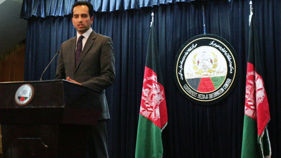 Afghanistan presidential spokesman Aimal Faizi speaks during a press conference in Kabul, Afghanistan, Sunday, Feb. 24, 2013.