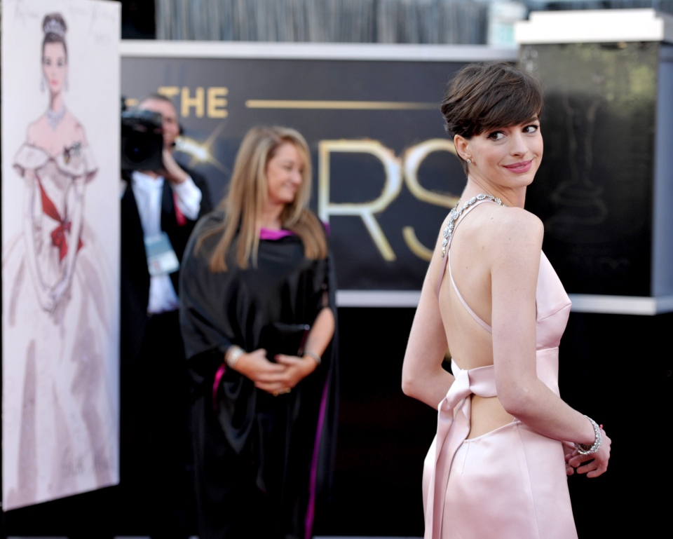 Actress Anne Hathaway arrives at the Oscars at the Dolby Theatre on Sunday Feb. 24, 2013, in Los Angeles. (John Shearer/Invision/AP)