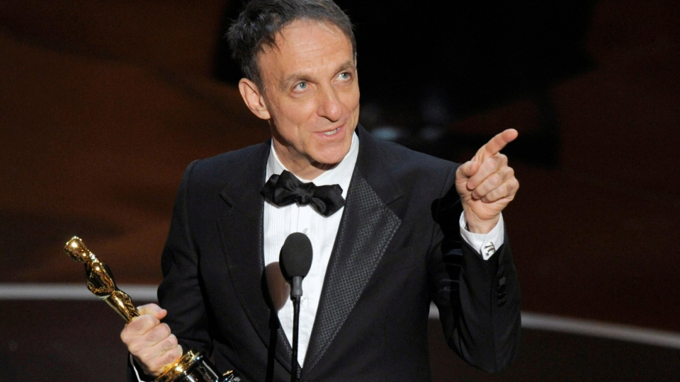 "Mychael Danna accepts the award for best original score for ""Life of Pi"" during the Oscars at the Dolby Theatre on Sunday Feb. 24, 2013, in Los Angeles. (Photo by Chris Pizzello / Invision /AP)"