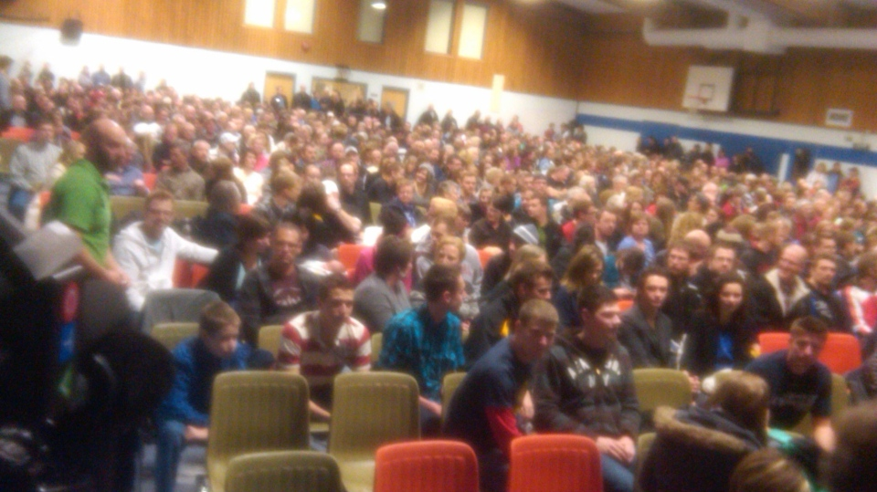 More than 1200 people packed the gymnasium and chapel at Steinbach Christian High School on Sunday, Feb. 24 to learn about Bill 18, Manitoba's proposed amendments to the Public Schools Act.