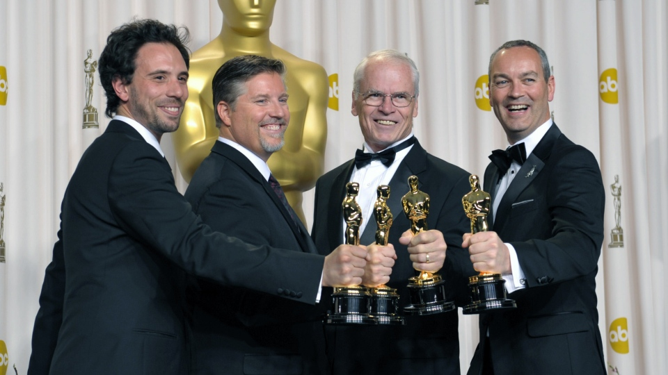 "Guillaume Rocheron, from left, Bill Westenhofer, Donald R. Elliott, and Erik-Jan De Boer pose with their award for best visual effects for ""Life of Pi"" during at the Oscars at the Dolby Theatre on Sunday Feb. 24, 2013, in Los Angeles. (Photo by John Shearer/Invision/AP)"