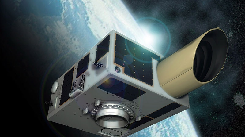 This is an artist's rendering of the NEOSSat satellite which will be launched Monday from India. (Canadian Space Agency)