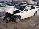 The car that took out a hydro pole sits at Myers Towing in Windsor, Ont., on Monday, Feb. 25, 2013. (Chris Campbell / CTV Windsor)
