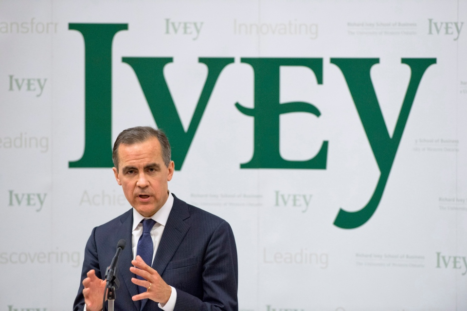 Bank of Canada governor Mark Carney speaks at the Richard Ivey School of Business in London, Ont. on Monday, Feb. 25, 2013. (Frank Gunn / THE CANADIAN PRESS)