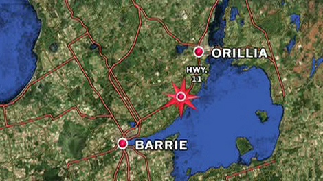 Map shows the location of the crash on Highway 11 between Barrie and Orillia, Friday, Jan. 21, 2011.
