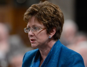 Human Resources Minister Diane Finley rises during question period in the House of Commons on Parliament Hill in Ottawa, Monday, Feb. 25, 2013. (Adrian Wyld / THE CANADIAN PRESS)