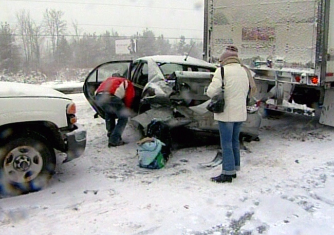 Dozens of vehicles are involved in a crash on Highway 11 between Barrie and Orillia, Friday, Jan. 21, 2011.