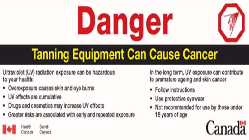 Health Canada's new tanning bed warning label highlights the risk of contracting cancer. Feb. 25, 2013. (Handout)