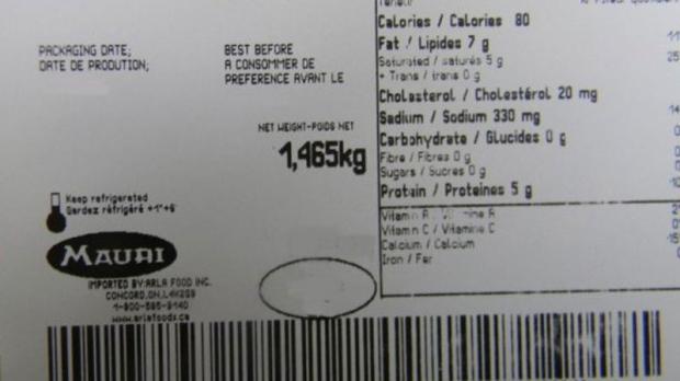 Mauri brand gorgonzola cheese product label.