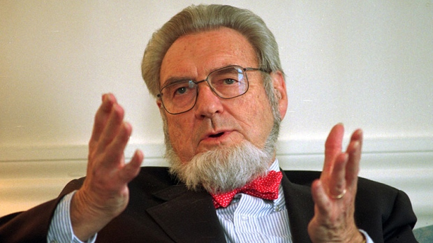 Former Surgeon General Dr. C. Everett Koop discusses the proposed increase of the New Hampshire cigarette tax at the governor's office in the Statehouse in Concord, N.H., May 12, 1997. (AP / Andrew Sullivan)