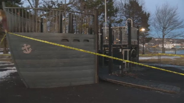 A deliberately-set fire destroyed this piece of playground equipment in Dartmouth Monday.