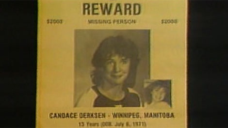 A photo of Candace Derksen is seen on a missing person poster.