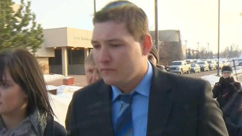 Brenden Holubowich arrives to for his appearance in a Grande Prairie courtroom on Tuesday, Feb. 26.
