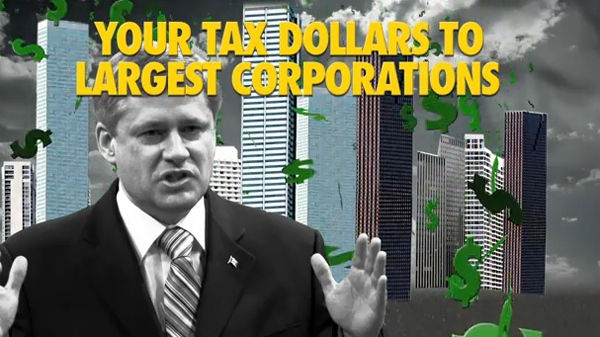 This image taken from video published on YouTube shows an advertisement from the Liberal Party of Canada.