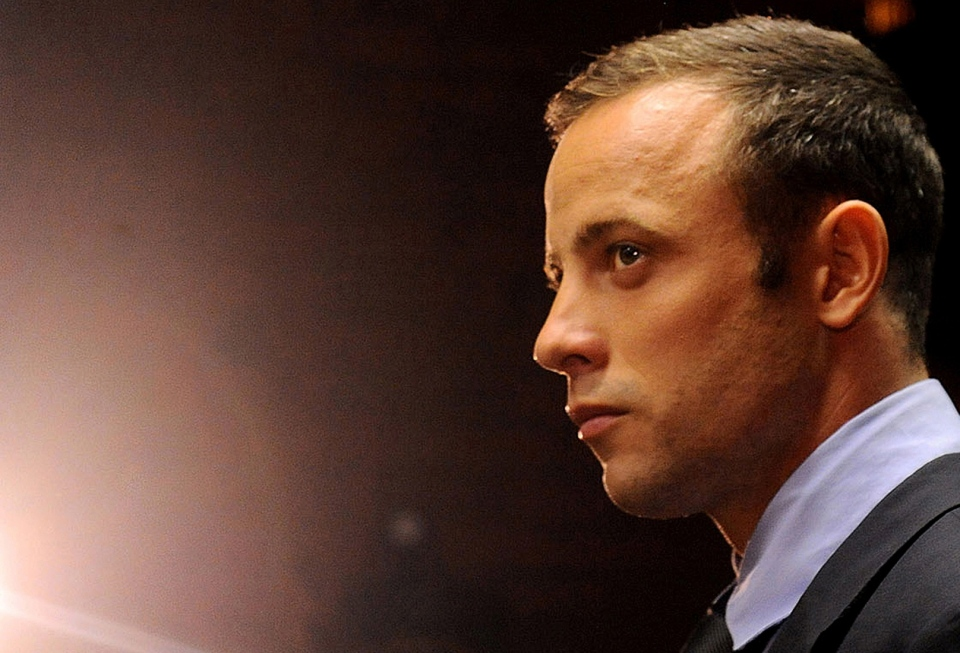 Oscar Pistorius in court in Pretoria, South Africa on Friday, Feb. 22, 2013. (AP / Themba Hadebe)