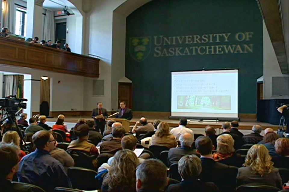 The University of Saskatchewan announced 50 job cuts at a town hall meeting on Tuesday.