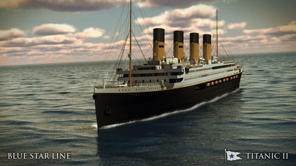 In this rendering provided by Blue Star Line, the Titanic II is shown cruising at sea. (AP Photo/Blue Star Line)