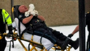 An Alberta sheriff was shot during an incident at a courthouse in Edmonton on Tuesday, Feb. 26, 2013. (Lynden McBeth / XM 105 Radio Station)