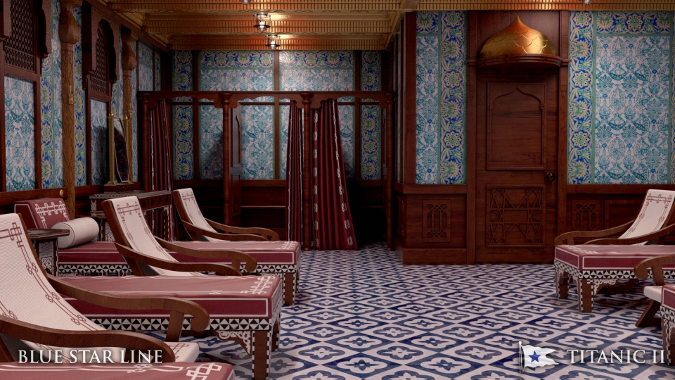 In this rendering provided by Blue Star Line, the Turkish bath on the Titanic II is shown. (AP/Blue Star Line)