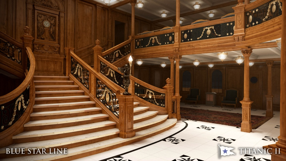 In this rendering provided by Blue Star Line, the grand staircase on the Titanic II is shown. (AP/Blue Star Line)