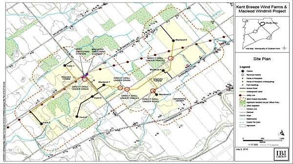 An map of Suncor's proposed wind farm in Chatham-Kent is shown. (Courtesy of Suncor Energy)