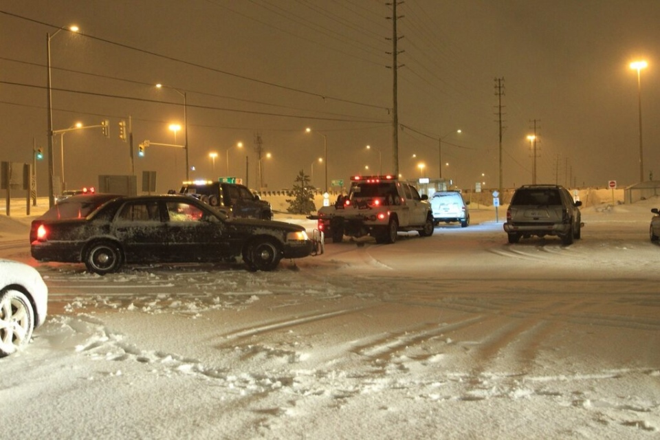 OPP dealt with a number of collisions on Highway 400 overnight near Major Mackenzie during a snowstorm on Feb. 27, 2013. (Tom Stefanac / CP24)