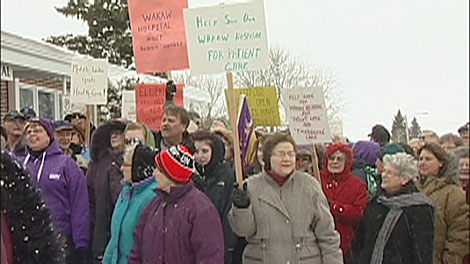 Wakaw residents rallied to keep their hospital from closing. Jan. 22, 2011.